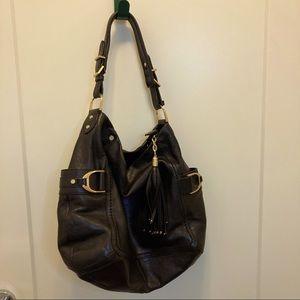 COLE HAAN Leather Boho Purse Zipper Pockets
